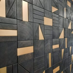 QUERCUS - Squared - End grain oak - Dark stained with copper inserts