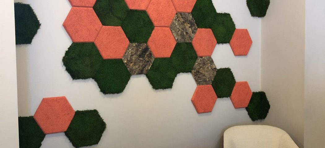 Acoustic wall panel with moss and cork
